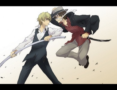 Baccano! & 《无头骑士异闻录》 an i dont mean cameos. Tell me a fight between Shizuo & Firo wouldn't be epic! 或者 the Slasher vs The Rail Tracer, teehee *drools*