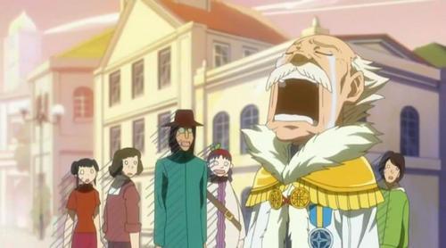 Well, he looks sad and cry. Makarov (Fairy Tail)