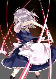 I am Sakuya Izayoi from touhou. Who happens to be a maid who can stop time and throw knives. Someone fucking reported my answer. There was nothing wrong with it either. >.>