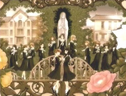 """Maria-sama ga Miteru. The student council is referred to as the Yamayuri council. Yuri = Lillies for one and each of the 3 """"families"""" is named after a rose. Rosa Chinensis, Rosa Gigantea, and Rosa Foetida. The name of the school is Lillian Girl's Academy. It's kind of hard to explain the """"political"""" system and tradition but that's enough for an answer x3"""