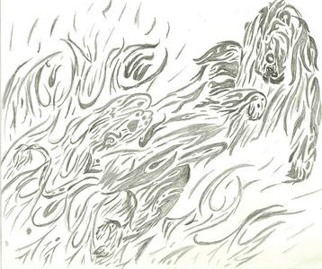Drawing, Writing poems and stories...reading....fanpopping...tv..... random picture i drew. it's a lion jumping outta flames