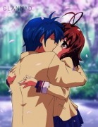 Does it count if they are kissing? This is tomoya and nagisa from clannad.