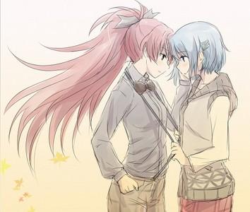 Kyoko and Sayaka, from Mahou Shoujo Madoka Magica. Possibly my Избранное yuri/shoujo-ai pairing. <3