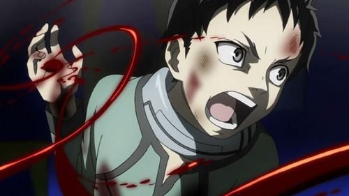 Deadman wonderland....it comes on toonami every Saturday at 12:30 AM.....its one of the best shonen's you'll ever see....