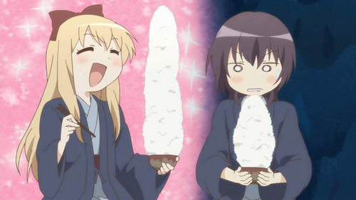 K-ON is funny but YuruYuri was funnier. Thanks to Toshinou Kyoko and Ayano mostly XD Kyoko and Yui eating riso ;P