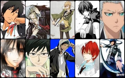1,Hibari Kyoya(KHR) 2,Aomine Daiki(Kuroko no Basuke) 3,Kanda Yuu(D.Gray-man) 4.Dino Cavallone(KHR) 5.Zero Kiryuu(VK) 6.Kuran Kaname(VK) 7.Xanxus(KHR) 8.Akashi SeujiroKuroko no basuke) 9.Kyoya Ootori(OHSHC) 10.Hitsugaya Toshirou(Bleach)