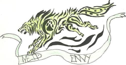 *sigh* so मांद, डेन i suppose.... TIME 4 बिना सोचे समझे PICTURE I DREW!! Sin: Envy Neid (German) Color: Green Animal: Dog