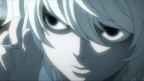 F- Franken Stein ( Soul Eater) I- Ichiru Kuriyu ( Vampire Knight) F- Fuhrer Bradley (Fma) T- Tomoyo Sakagami ( Clannad) E- Edward Elric ( Fma) E- Envy N- Nate Rivers/ Near ( Death Note) The pic is of Nate/ Near