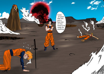 "This explains it. (Goku is saying ""Come on guys! That was just a Kaio-Ken x3. wewe need to be ready for anything."")"