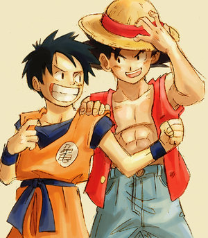 Its MY ikoni and its MY screensaver......luffy nd goku in switched outfits.....
