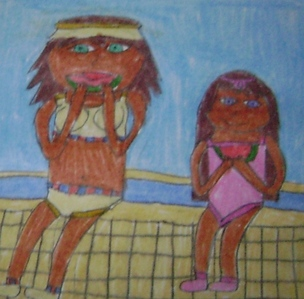 I mostly draw my OCs but I did draw Layla (one of my many Yu-Gi-Oh OCs) with Mana (her mom) for a contest on DeviantArt. The theme was Mana in a swimsuit. That's Layla in the pink.