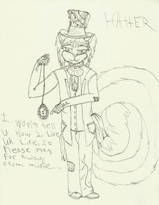 well...listening 2 mariposa Cry por Kerli....getting ready 2 start a picture...and answering this...and TRYING 2 STOP BEING ADDICTED 2 ALICE AND WONDERLAND!!!! and drawing Sonic FCs... because now the 2 r mixing... behold...Hatter the skunk