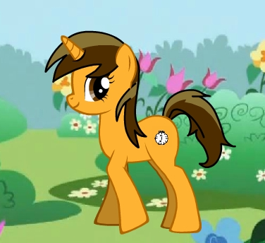 Here's me. The pony's name is Destiny, which is my real name. I thought the clock cutie mark would workd because Destiny = Future and there's a relation to clocks and the future. >_> She's a unicorn because of the whole future thingy.