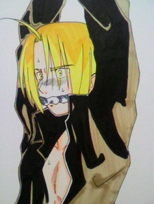 Uhm, Edward Elric has [i]something[/i] on his face, although I'm not sure what it is exactly, but it's adorable. x'3