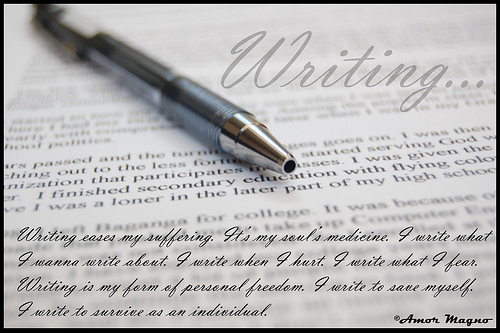 Having a own, separate world, that no one else can spoil for you. It's how I cherish the pain, it's how I survive. It's called writing.