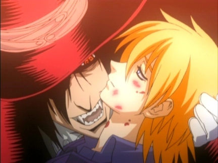 I just can't help it... A violent monster falling in Cinta with an innocent girl... What could ever be any sweeter? (=^__^=) Alucard x Seras Victoria