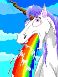 a baby unicorn just puked rainbows in your rice. what do Ты do???