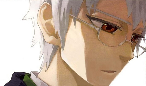 Post an anime character with grey hair and red eyes