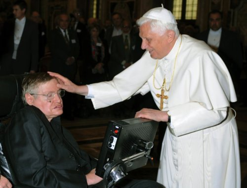 Why is the Pope petting Stephen Hawking?