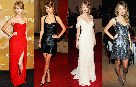 <PROPS> this time post a pic of taylor wearig a yellow,white,purple or red dress......