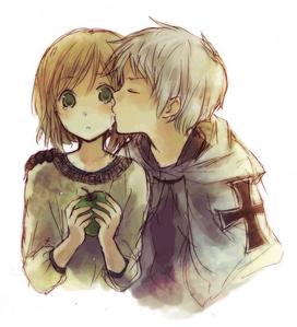 Post 아니메 cheek kisses.