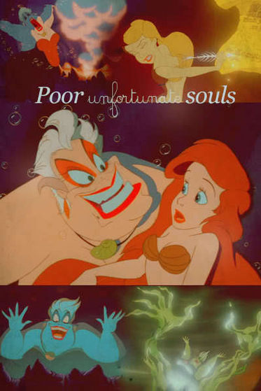 Poor Unfortunate Souls Sequence: I Liebe this part of the movie it is so incredible. The temptation (human form and Eric), the treachery (Ursula's secret plan to steal the kingdom), and the sacrifice (Ariel's beautiful voice).