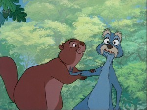 The Squirrels : This is from The Sword and the Stone where Merlin is giving Arthur lessons and changes Arthur and himself into squirrels. Then two other female squirrels fall in love with them. The scene is hilarious, but also bittersweet.