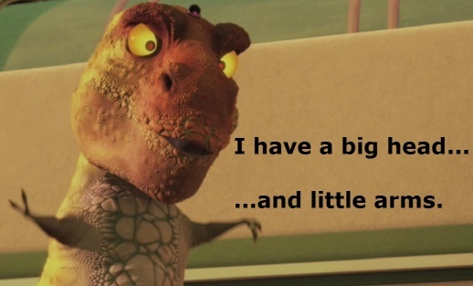 Big head and little arms: This scene is from Meet the Robinson's and if Ты haven't seen it look it up. It is hilarious!