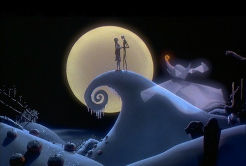 Ending of Nightmare Before Christmas: Jack finally has realized that what he was missing was প্রণয় and comes to see Sally. They sing a short, but sweet song proclaiming they were simply meant to be and that they be together now and forever.