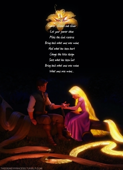 Healing Incantation: I love this part because it shows Rapunzel's feelings for Flynn. She is willing to risk دکھانا her power to a complete stranger even when she was taught to hide her gift. It makes their relationship have a strong bond of trust.