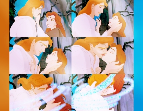 Belle and Adam's Kiss: First of all Prince Adam is SO hot when he transforms. Aside from that their love is so pure because they were able to see through each other's imperfections and still love one another. Not to mention break the spell.