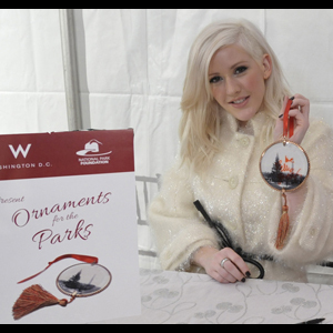 Ellie Goulding with her signed ornament for Ornaments for the Parks. Photo by Mark Silva for W Washington D.C.