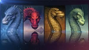 The whole series in order from left to right: Eragon, Brisingr, Eldest, Inheritance