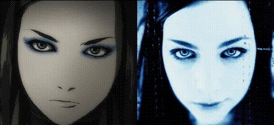 Re-L Mayer (Ergo Proxy) and Amy Lee: Wow! This one is amazing. The resemblance is astonishing since its pretty rare for animê characters to look like real life people.