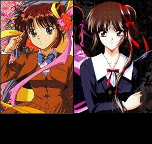 Miaka Yuki (Fushigi Yugi) and Miyu Yamano (Vampire Princess Miyu) Think of Miyu as the dark and mais serious Miaka. Just as pretty, but a little mais mysterious.