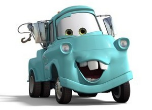 Mater when he was a younger baby blue Tow Truck