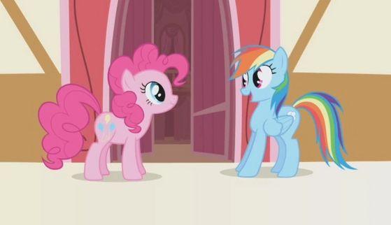 Pinkie and pelangi, rainbow Dash