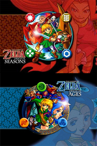 "Older dual releases zelda games. top, boven ""Oracle of Seasons"" Bottom ""Oracle of Ages"""