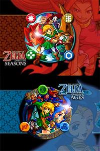 """Older dual releases zelda games. juu """"Oracle of Seasons"""" Bottom """"Oracle of Ages"""""""
