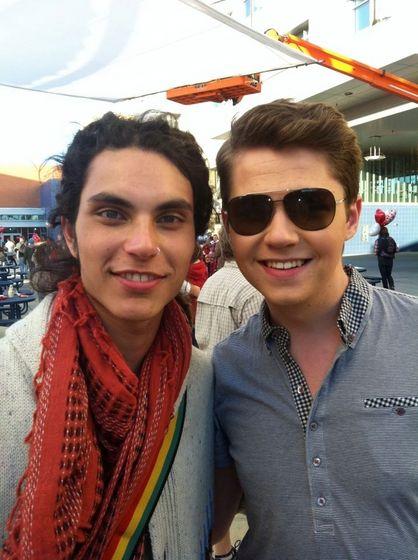 "Samuel Larsen and Damian McGinty on the set of ""Glee""."