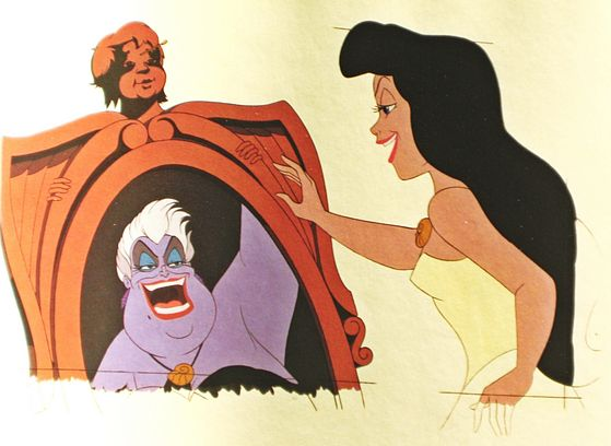 With her magic, Ursula has transformed herself into a lovely maiden complete with Ariel's voice, but her reflection in the mirror will not change. It is still the same ugly Ursula.