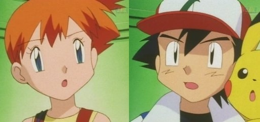 Ash and Misty after finding out that they have to battle against each other