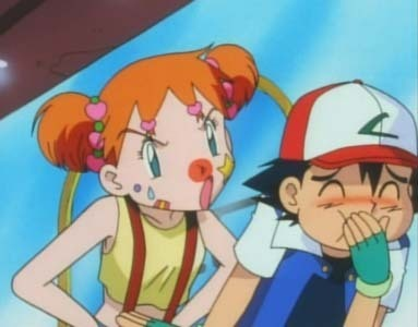 Ash laughing at Misty due to her make-up