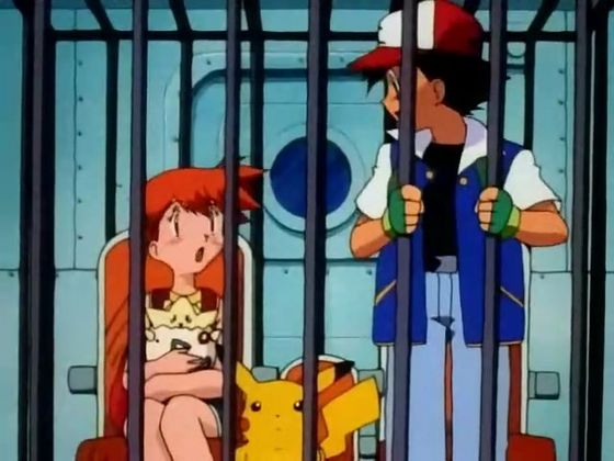 Ash and Misty stare at each other and blush