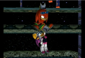 Knuckles saving Rouge (SONIC ADVENTURE 2)