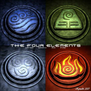 The Four Elements; Water, Earth, Air and moto