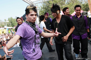 "Here is D-trix with his dance crew, ""Quest Crew."""