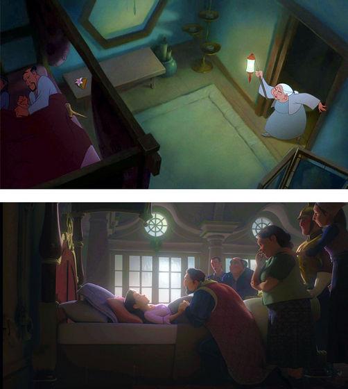 Fa Zhou and Fa Li's (above) and Rapunzel's parents' (bottom)