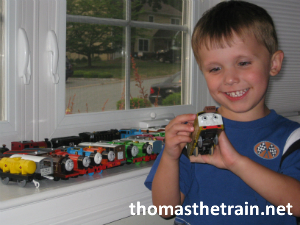 Adam part of his Thomas & friends collection of engines