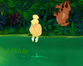 The first datum with Timon, he took her to a cliff and pushed her into the lake, He jumped after her.